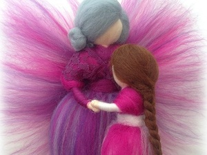 Felted fairy grandmother and granddaughter