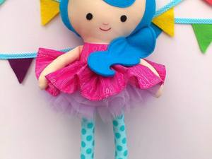 Pink and blue felted doll