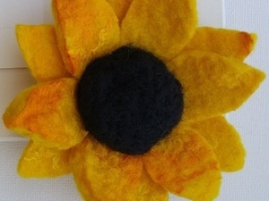 Felted yellow sunflower