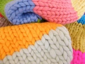 Multi-coloured jumbo yarn scarf