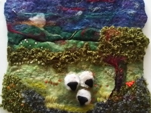 Felted Sheep in field