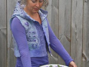 Purple felted waistcoat with hood