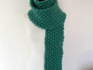 Teal jumbo yarn scarf
