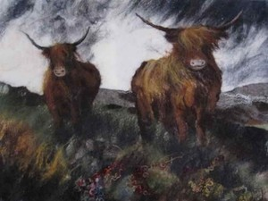 Stormy weather with cows in field