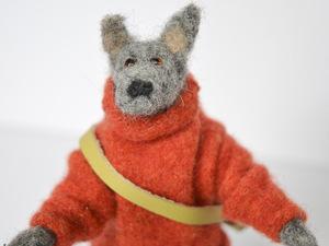 Felt dog with orange jumper