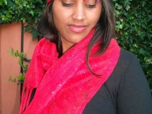 Bright pink matching felt hat and scarf