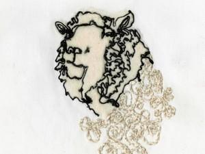 Sheep head created using yarn