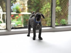 Dark grey felted dog on window ledge