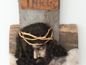 Broken for you - Needle felted base of Jacob's fleece for Jesus' face overlaid with alpaca and mounted on an oak cross and genuine Jerusalem crown of thorns.