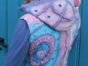 Pink and blue felted jacket with hood