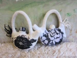 Twin felt teapots