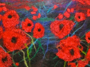 Poppies in the field created using felt