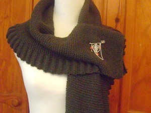 Brown wrap over scarf with badge