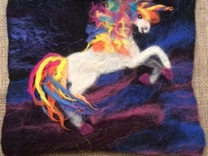 Rainbow Unicorn Wet And Needle Felted Picture Using Stretched Wet Pieces Of Wool To Create A Crinkle Effect.