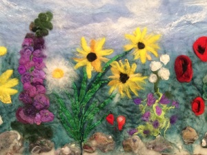 Wild Flower Frieze Wet And Needle Felted Picture Which Incorporates Silk And Nylon Fibres