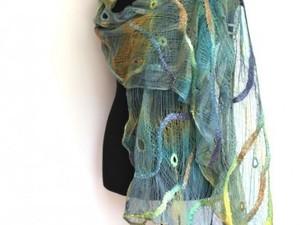 Peacock inspired fine merino scarf