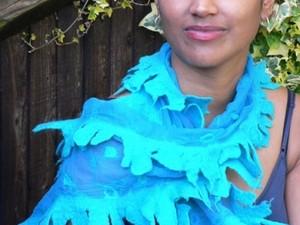 Turquoise frayed scarf