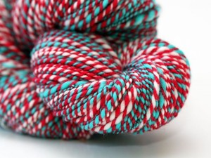 Red and blue yarn