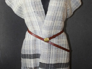 White and grey wool scarf dress with belt