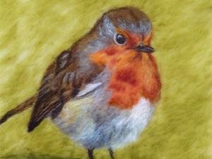 Felted red robin