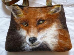 Needle felted fox bag