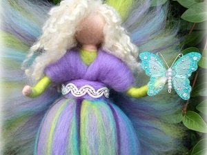 Green and purple felted fairy