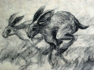Grey scale piece with two hares sprinting