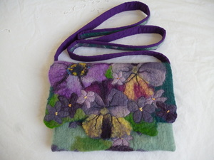 Purple felt handbag