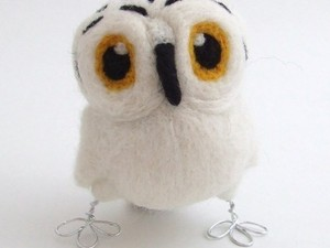 White owl made using fluffy fleece