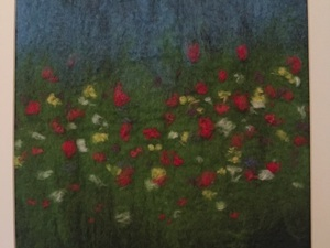 An Impression Of A Summer Flower Meadow Using A Variety Of Merino Wool Colours