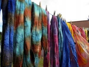 Felt scarves on the washing line