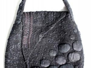 Grey felt handbag with detail