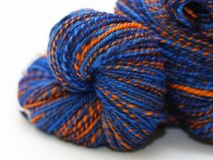 Blue and orange yarn
