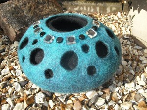 Blue felted bowl with bead detail