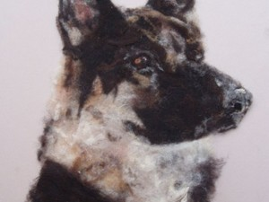 Dog created using wool painting
