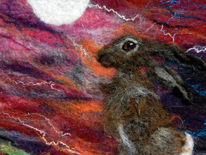 Hare gazing into the moonlight