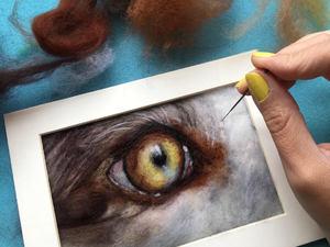 Eye close up, created with merino wool felt