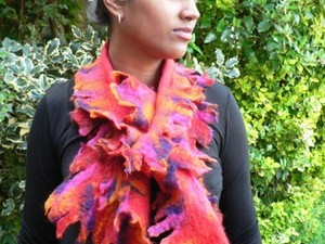 Pink and yellow felt scarf